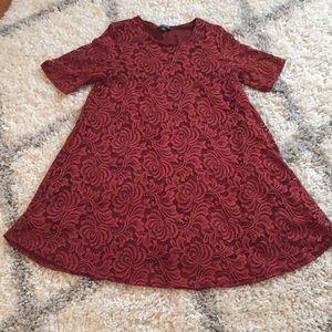 Sharagano Rust Lace Swing Dress